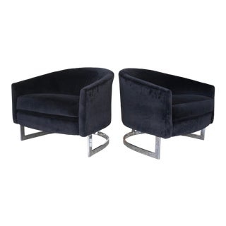1970s Milo Baughman Polished Chrome and Black Velvet Lounge Chairs - a Pair For Sale