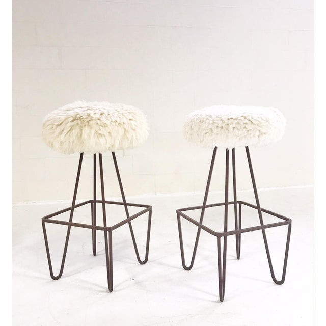 Vintage Weinding Stools Reupholstered in Brazilian Sheepskin - a Pair - Image 5 of 5