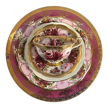 Pink Vintage Mismatched Porcelain Place Setting - Set of 5 - Image 1 of 9