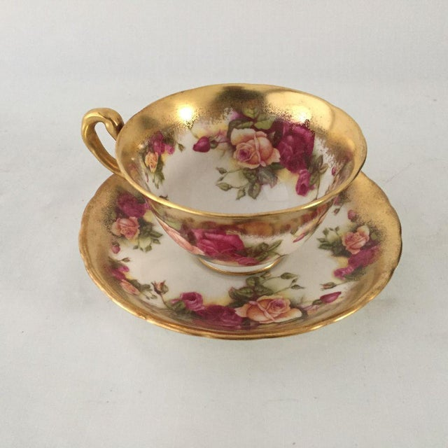 Vintage Royal Chelsea Golden Rose Tea Cup & Saucer - 2 Piece For Sale In New York - Image 6 of 6