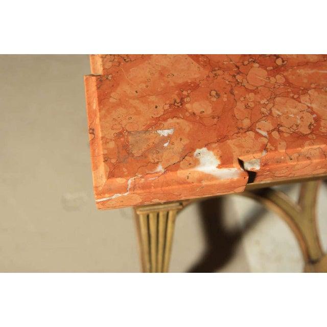 Maison Jansen Maison Jansen Coral Marble Top Console For Sale - Image 4 of 8