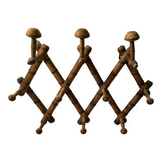 1930's French Faux Bamboo Expandable Wood Portmanteau With Ten Hooks For Sale