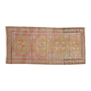 "Vintage Distressed Oushak Rug Runner - 3'8"" x 7'9"""