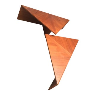 Teak Triangle Tables - A Pair