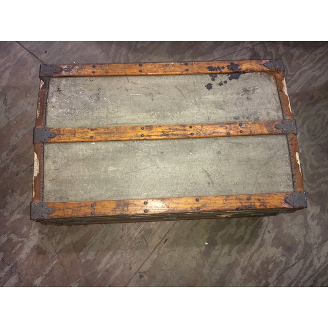 Crouch & Fitzgerald Antique Flat Top Trunk For Sale - Image 9 of 11