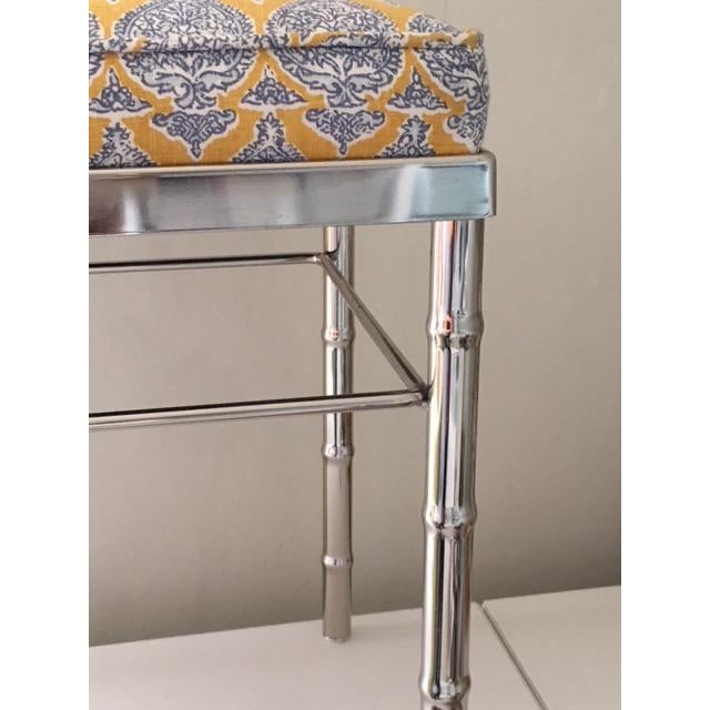 Boho Chic Vintage Petite Raoul Textile Fabric Upholstered Chrome Bench For Sale - Image 3 of 6