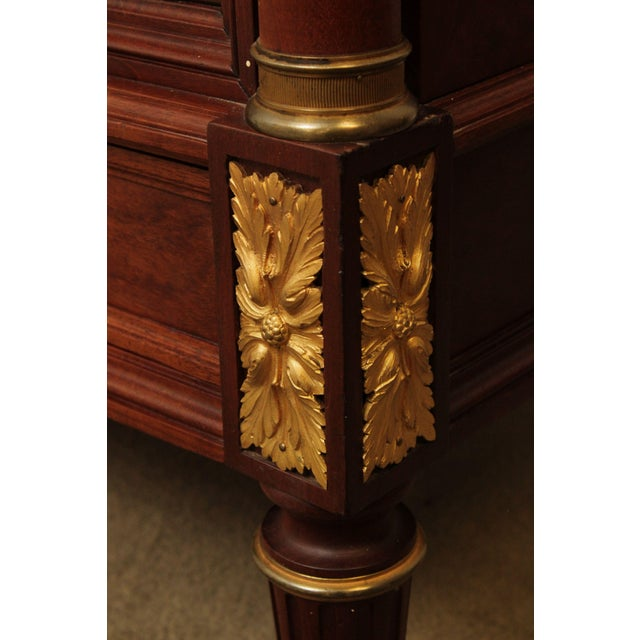 French Louis XV Antique Mahogany Mirror Door Armoire, Bronze For Sale - Image 9 of 13