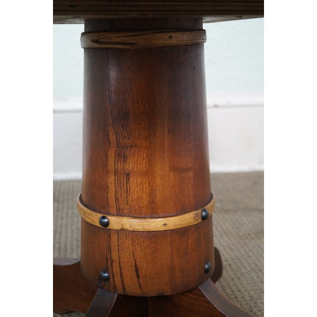 Brown Vintage Oak Round Barrel Base Coffee Table For Sale - Image 8 of 10