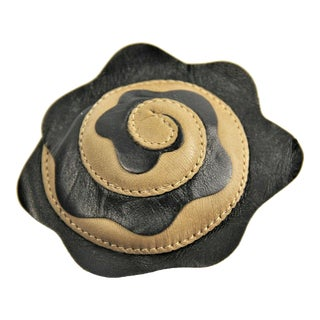 Vintage Chanel Two Tone Lambskin Camellia Flower Brooch Nwt For Sale
