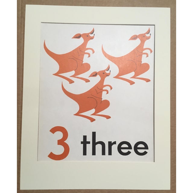 """Vintage Mid Century Teaching Poster, Numbers - """"3"""" For Sale - Image 4 of 4"""