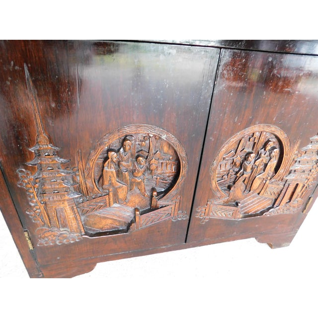 Vintage George Zee Asian Carved Silver Chest For Sale In Philadelphia - Image 6 of 13