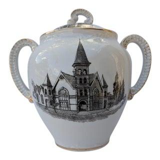 1890s White & Black Church Motif Sugar / Cookie Bowl