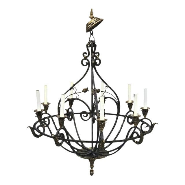 Neoclassical Wrought Iron & Brass Orb 8-Light Chandelier, by Maitland Smith For Sale