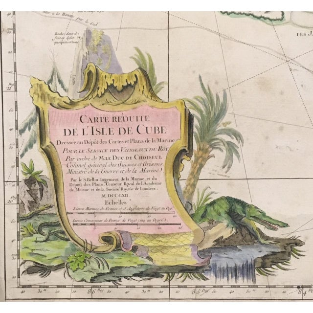 Rustic 1762 Depot Des Cartes Carte Reduite De l'Isle De Cube Map of Cuba Hydrographical For Sale - Image 3 of 13