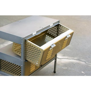 2 X 2 Locker Basket Unit in Brass Tone and Natural Steel, Custom Made to Order Preview