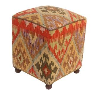 Art Deco Daina Brown and Rust Kilim Upholstered Ottoman