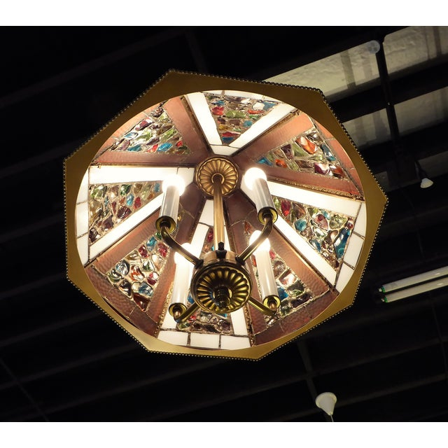 Brutal Stained Glass Modern Hollywood Regency Chandelier 1950s - Image 3 of 10