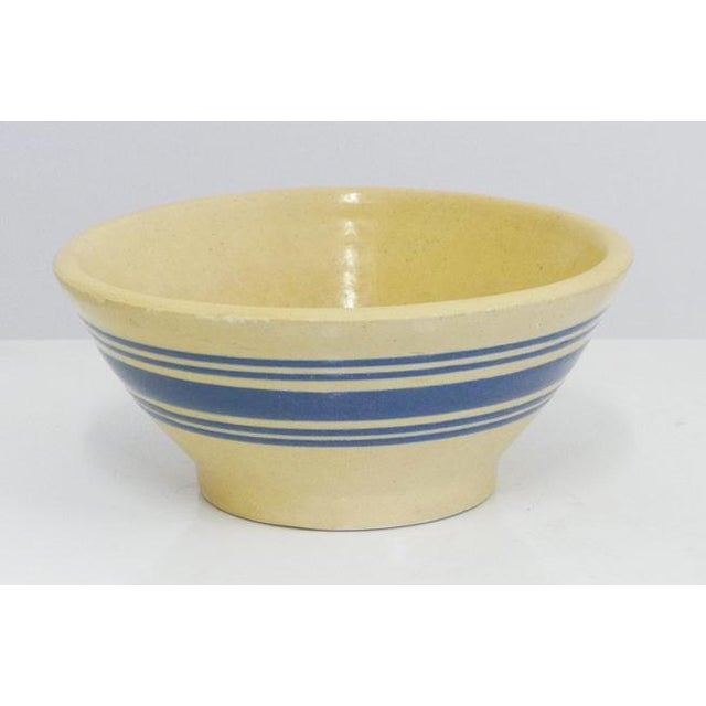 1900 - 1909 Blue Stripe Yelloware Bowl For Sale - Image 5 of 5