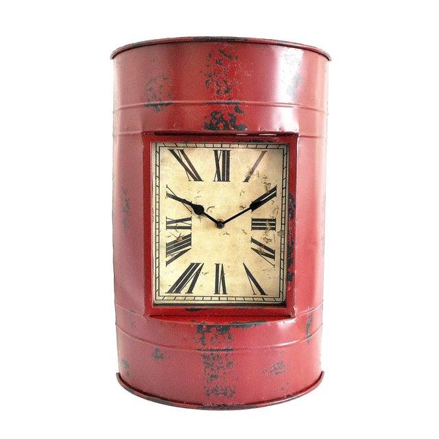 Vintage Metal Barrel Clock For Sale - Image 4 of 11