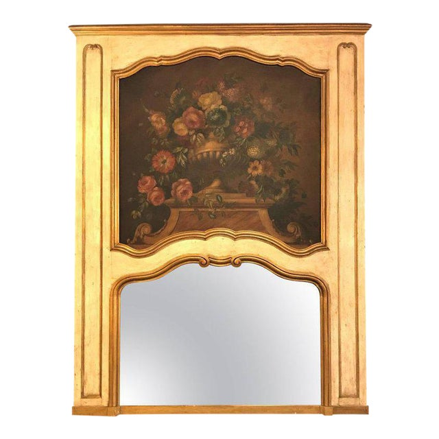 French Antique Painted And Parcel Gilt Trumeau or Over The Mantel Wall Mirror For Sale