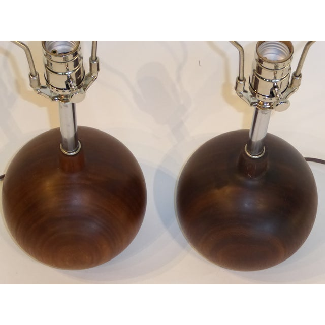 Metal Danish Modern 1960s Brazilian Rosewood Orb Table Lamps Denmark - a Pair For Sale - Image 7 of 8