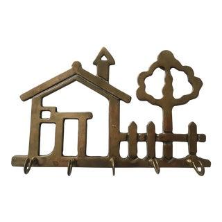 Mid Century Cottage Brass Key Hook For Sale