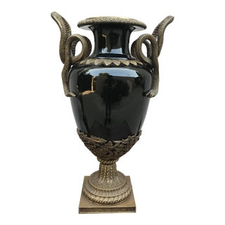 1940s Neoclassical French Empire Vase With Snake Handles For Sale