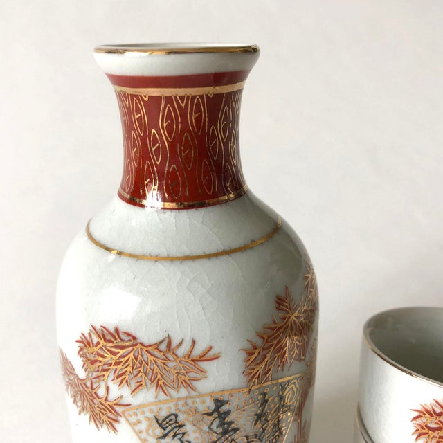 Asian Japanese Ceramic Sake Decanter and Cups Set For Sale - Image 3 of 6