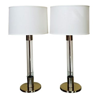 Laurel Mid Century Glass & Brass Lamps - a Pair For Sale