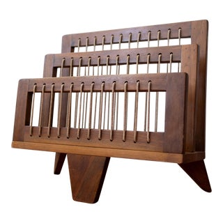 1950s Modernist Wood and String Magazine Rack For Sale