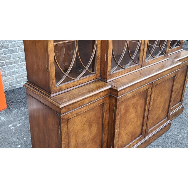 Vintage Late 20th Century Regency Style Old Colony Furniture Mahogany Breakfront Cabinet C1970s For Sale - Image 10 of 13