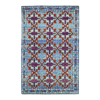 Blue Tribal Design Colorful Afghan Baluch Hand Knotted Wool Rug For Sale