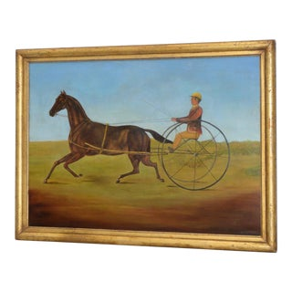 Rare 19th Century American Trotter & Sulky W/ Rider Folk Art Painting