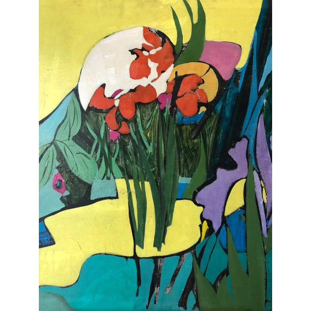 "1974 Floral Abstract Painting Ny Artist ""Iris in Front"" For Sale - Image 4 of 6"