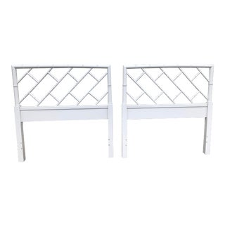 Lacquered Chippendale Henry Link Headboards a Pair For Sale
