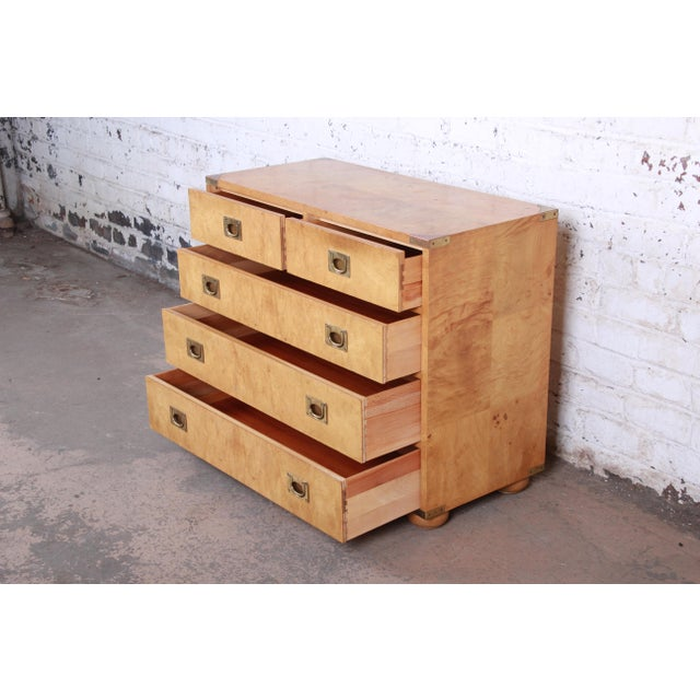 Gold Henredon Burl Wood Campaign Style Five-Drawer Dresser Chest For Sale - Image 8 of 12