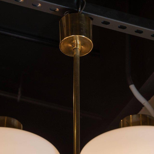 Scandinavian Mid-Century Modern Six-Arm Brass and Frosted White Glass Chandelier For Sale - Image 4 of 9