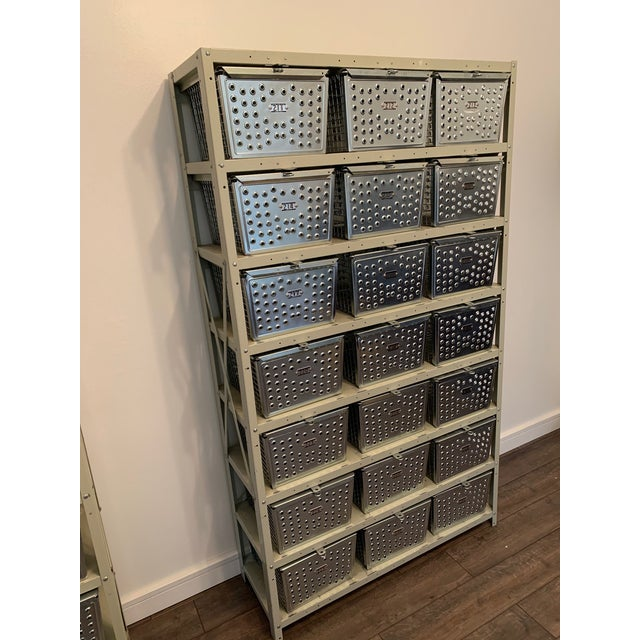 Metal Vintage Industrial Swim and Gym Basket Lockers With Shelving For Sale - Image 7 of 11