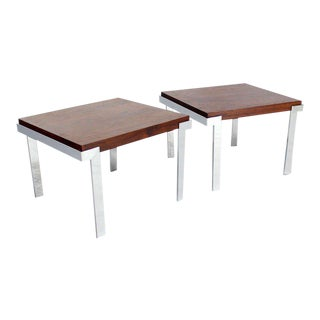 Pair of Baughman Rosewood & Chrome Mid-Century Modern End Tables For Sale