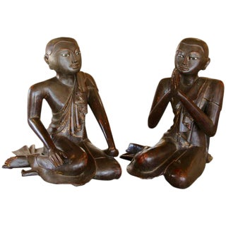 Early 19th Century Siamese 'Thai' Wood Carved Monks With White Painted Eyes - Set of 2 For Sale