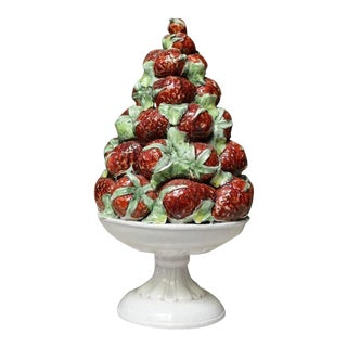 Italian Ceramic Topiary With Strawberries For Sale