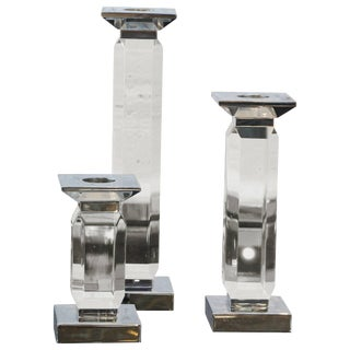 Trio of Staggered Height Candlestick in Lucite & Nickel by Charles Hollis Jones - Set of 3 For Sale