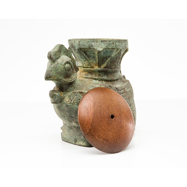 Turquoise Lawrence & Scott Patinated Rooster Box Vase For Sale - Image 8 of 8