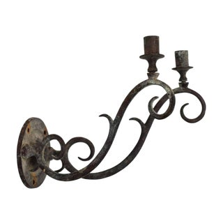 Early 20th Century Curl Motif Candelabra Sconce For Sale