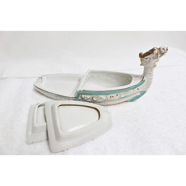 Hand Painted White & Teal Viking Ceramic Ashtray - Image 6 of 6