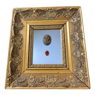 18th Century Antique Grand Tour Intaglio and Cameo With Golden Frame For Sale