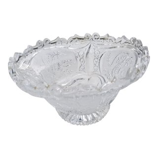 1970s Fanciful Etched Molded Glass Fruit Bowl With Dragon For Sale
