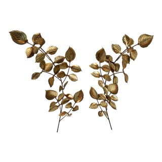 Mid Century Brutalist Leaf Sculpture Wall Hangings - a Pair For Sale