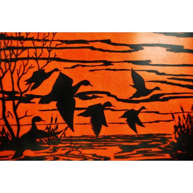 Vintage Orange Water Fowl Artwork - Image 3 of 10