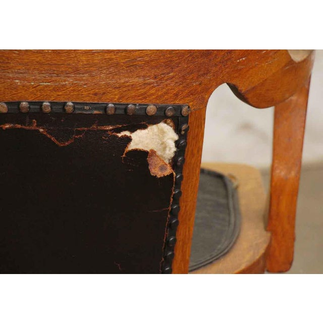 Wooden Rolling Desk Chair With Vinyl For Sale - Image 9 of 9